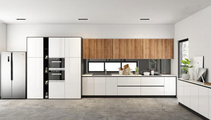 Mẫu tủ bếp Laminate hiện đại giá rẻ