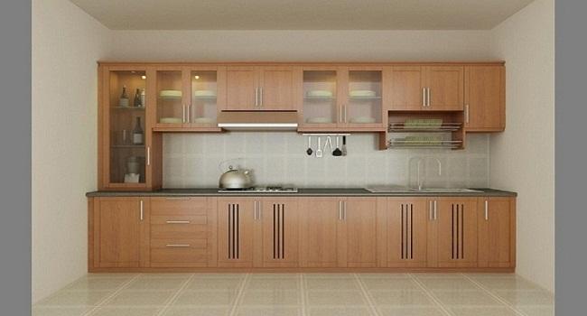 Mẫu tủ bếp nhôm kính vân gỗ chữ I