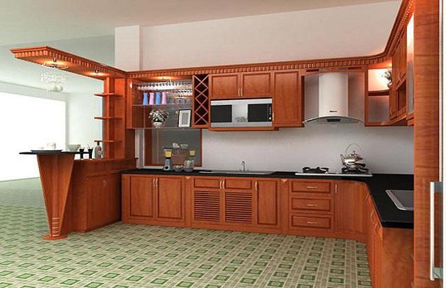 Mẫu tủ bếp nhôm kính vân gỗ kết hợp quầy bar