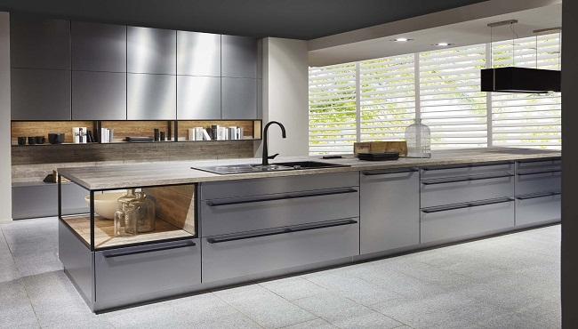 Mẫu tủ bếp treo tường bằng inox