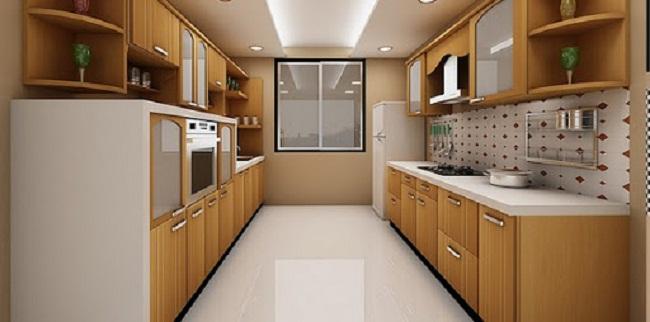 Mẫu tủ bếp treo tường song song