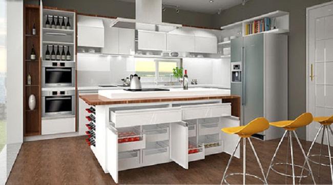 Tủ bếp sơn màu trắng