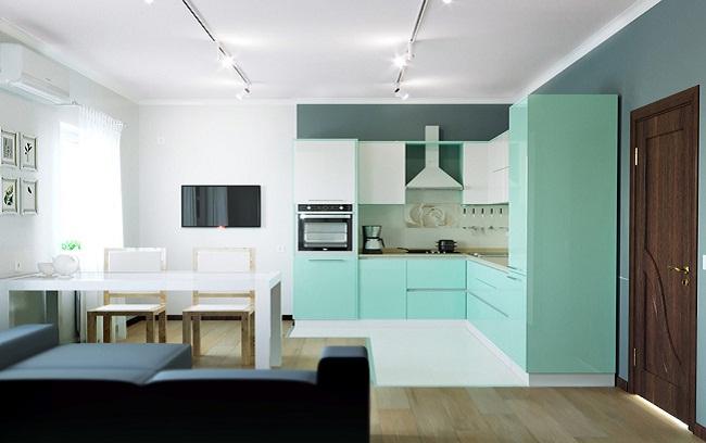 Tủ bếp hai tông màu