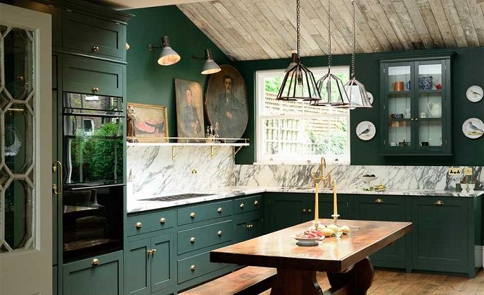 Tủ bếp màu xanh cổ vịt