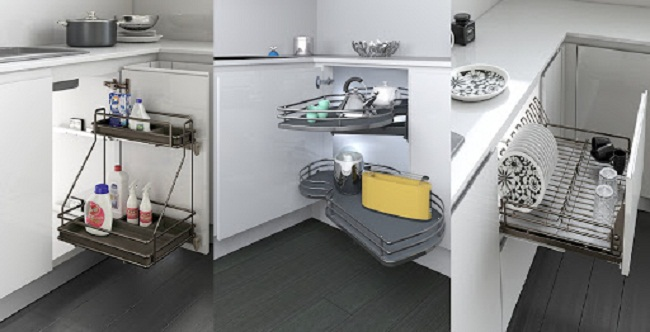 Nội thất bên trong của chiếc tủ bếp hiện đại