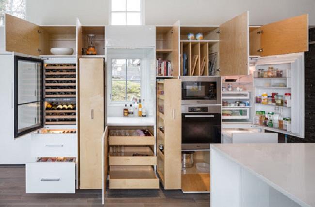 Nội thất tủ bếp âm tường thông minh