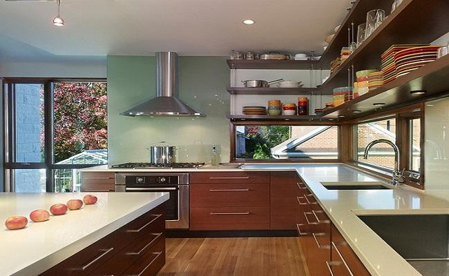 Phong cách thiết kế tủ bếp với kệ nổi