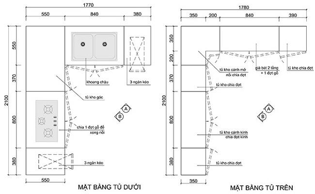 Bản thiết kế tủ bếp 2D