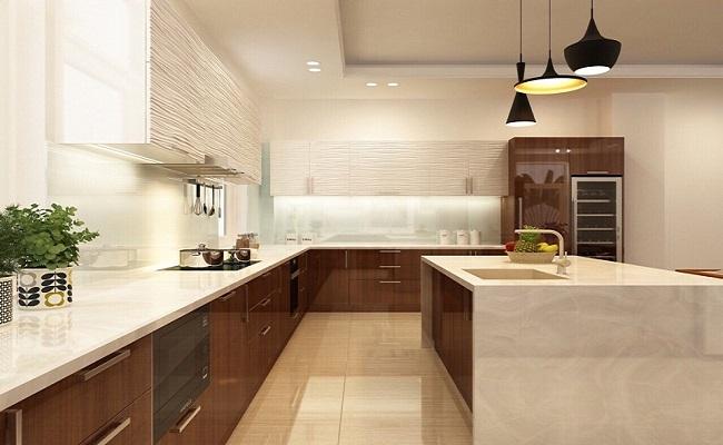 Thiết kế thi công tủ bếp chữ L gỗ công nghiệp cho nhà anh Huynh ở Vũng Tàu