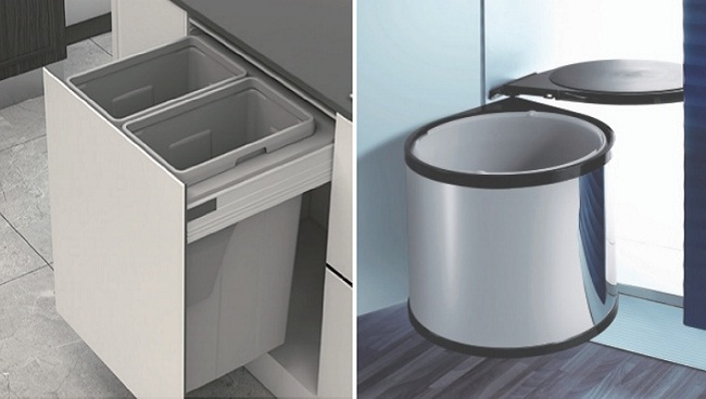 Thùng rác âm tủ bằng nhựa và inox