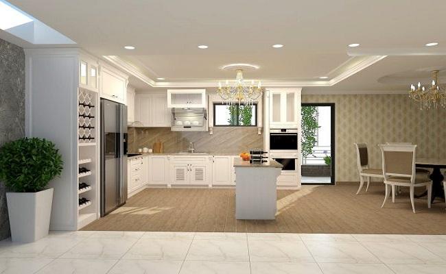 Thiết kế nội thất phòng bếp đẹp theo phong cách tân cổ điển cho anh Hoàng Phong