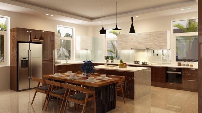 Thiết kế và thi công tủ bếp gỗ tự nhiên cho nhà anh Tân ở Gia Lai