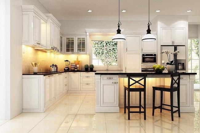 Thiết kế thi công tủ bếp tân cổ điển với gỗ tự nhiên cho nhà chị Cúc Bình Dương