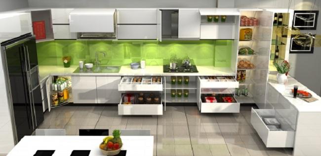 Thiết kế tủ bếp cao cấp tông màu trắng cho nhà chị Lan quận 2 TPHCM