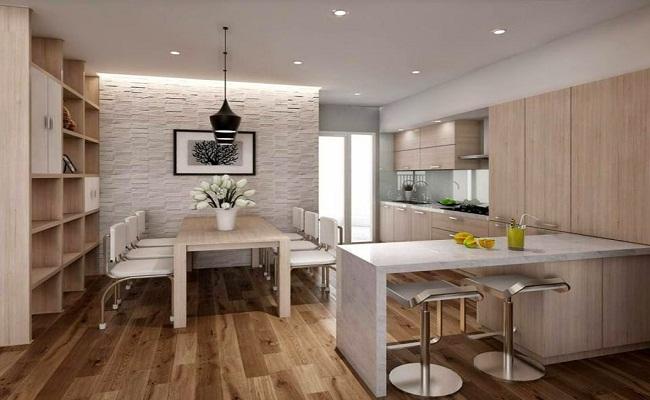 Ý tưởng thiết kế tủ bếp chung cư kèm bàn đảo