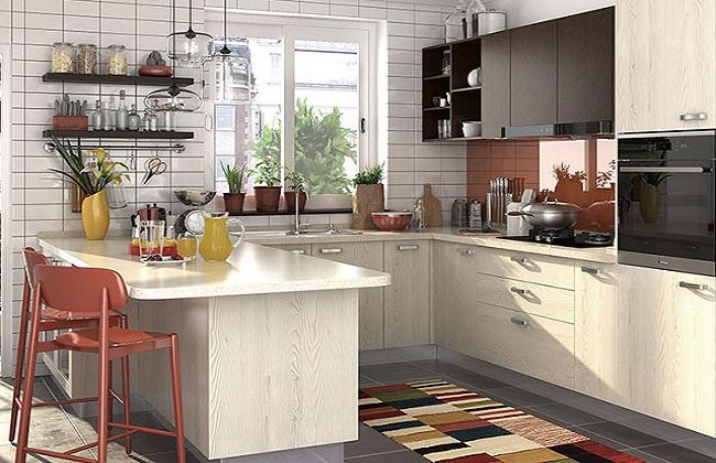 Thiết kế tủ bếp có cửa sổ