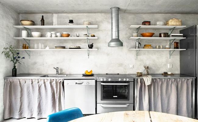 Thiết kế tủ bếp độc đáo với rèm che