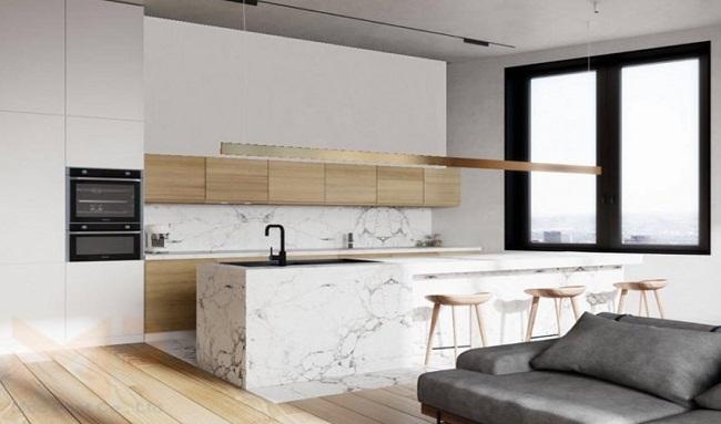 Thiết kế tủ bếp hiện đại vân đá