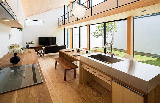 Thiết kế tủ bếp kiểu Nhật đơn giản