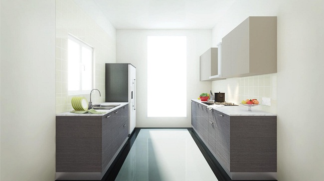 Tủ bếp song song có cửa sổ