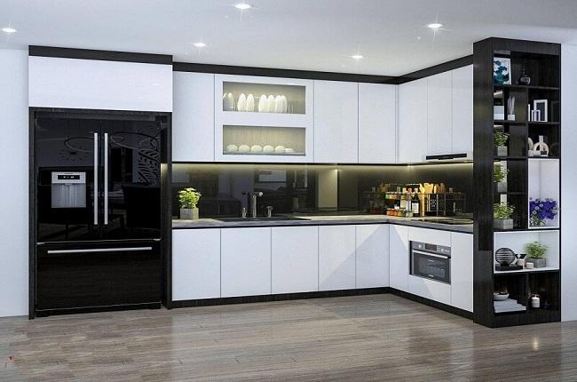 Tủ bếp Acrylic trắng đen hiện đại