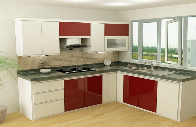 Tủ bếp Acrylic chữ L có cửa sổ