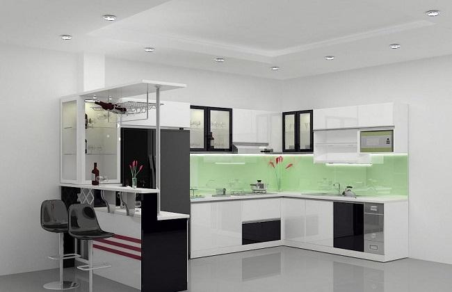 Tủ bếp Acrylic chữ L có quầy bar
