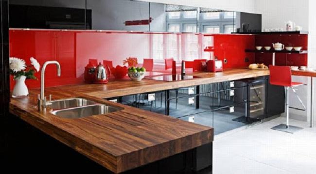 Tủ bếp Acrylic chữ L sang trọng
