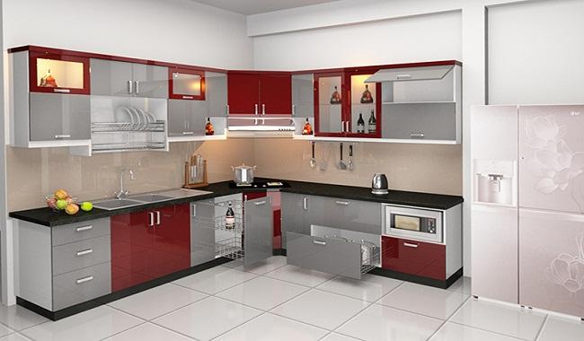 Tủ bếp cho gia đình chữ L bằng inox