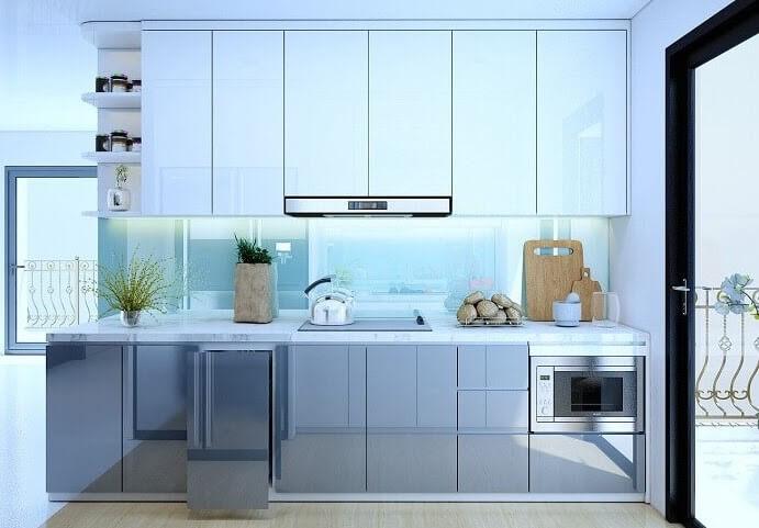 tủ bếp chữ i gỗ công nghiệp cho nhà nhỏ phủ acrylic