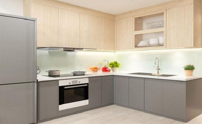 Tủ bếp Melamine chữ L cho chung cư