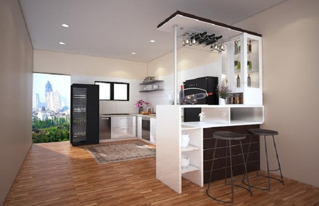 Tủ bếp Acrylic chữ L quầy bar mini