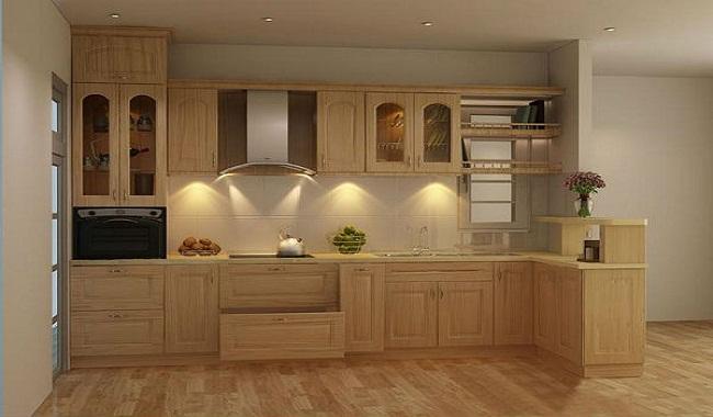 Tủ bếp gỗ chữ L có quầy bar mini