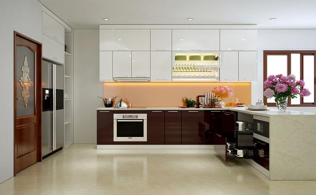 Tủ bếp chữ L đơn giản bằng Acrylic