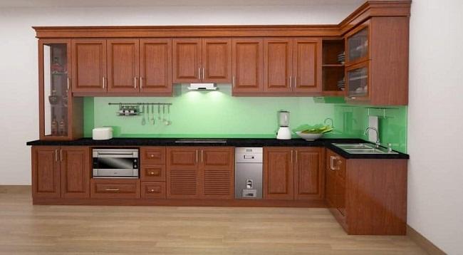 Tủ bếp chữ L đơn giản bằng gỗ xoan