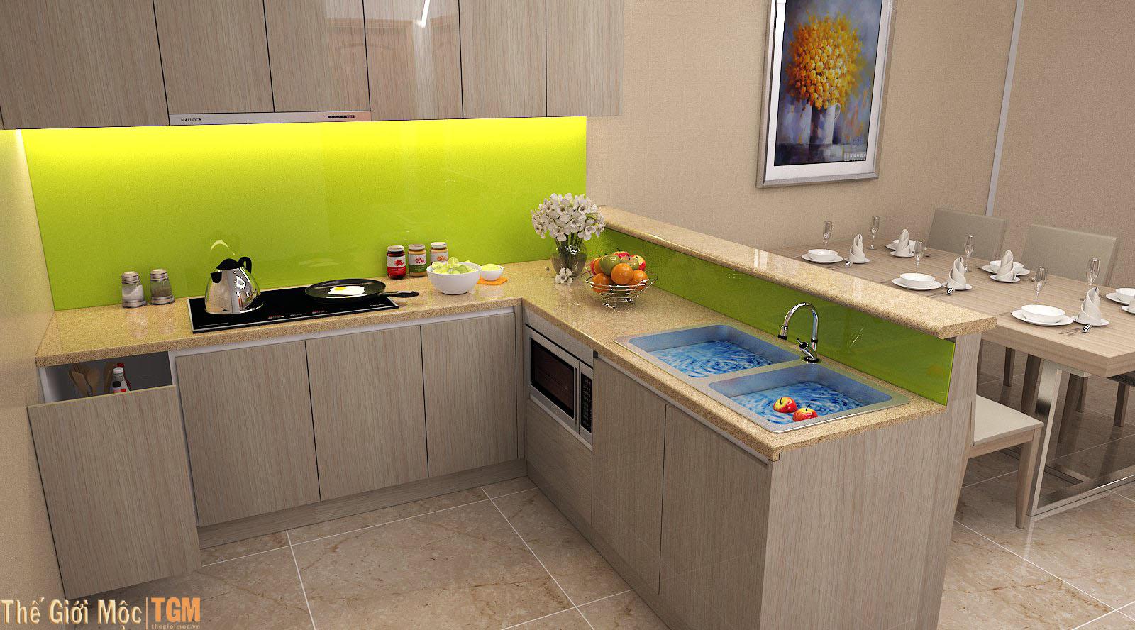 Tủ bếp chữ L cho nhà chung cư