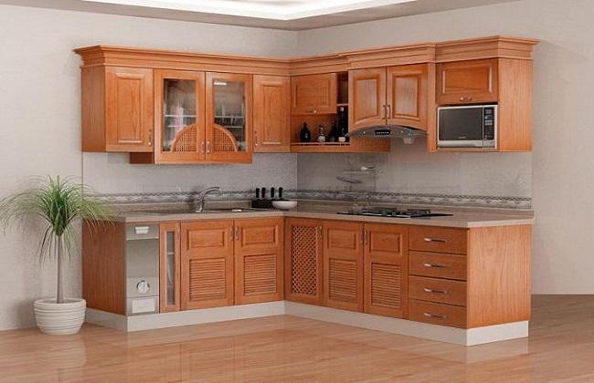 Tủ bếp chữ L gỗ tự nhiên nhỏ gọn