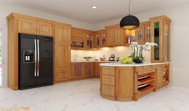 Tủ bếp chữ L gỗ tự nhiên có đảo