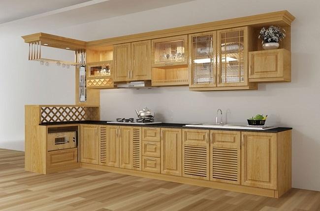 Tủ bếp chữ L gỗ tự nhiên có quầy bar mini