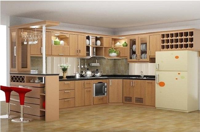 Tủ bếp chữ L gỗ tự nhiên có quầy bar