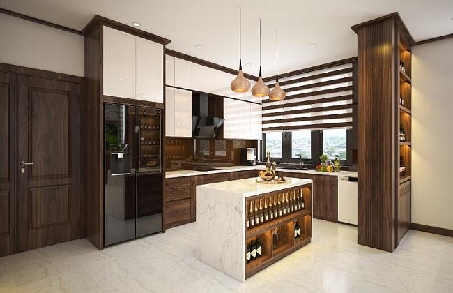 Tủ bếp chữ L gỗ tự nhiên phong cách hiện đại