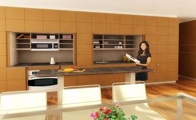 Tủ bếp chung cư âm tường hiện đại