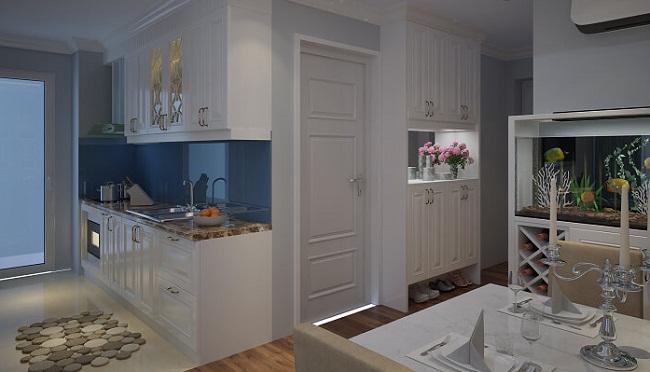 Tủ bếp chung cư cao cấp sơn trắng