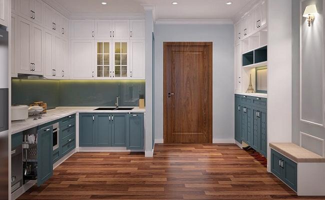 Tủ bếp chung cư gỗ sơn màu cao cấp