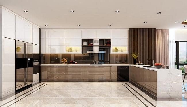 Tủ bếp chung cư Acrylic cao cấp