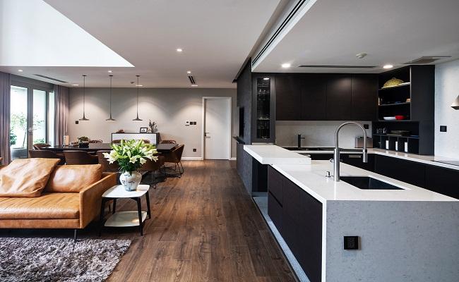 Mẫu tủ bếp chung cư giữa nhà hiện đại