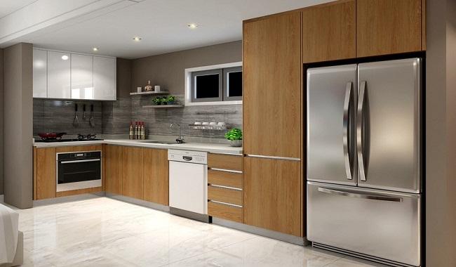 Mẫu tủ bếp chung cư hiện đại chữ L