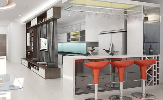 Tủ bếp chung cư hiện đại có quầy bar