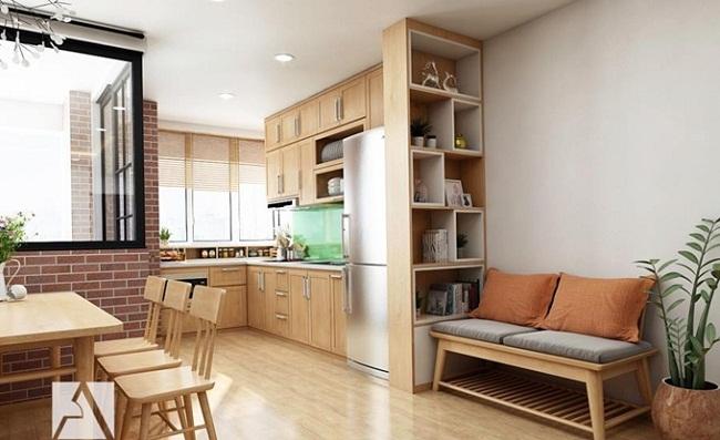 Tủ bếp chung cư nhỏ bằng gỗ