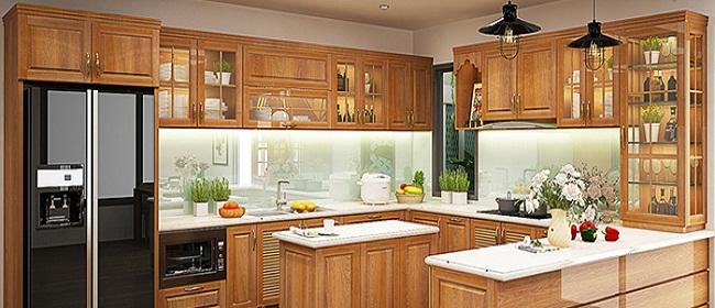 Mẫu tủ bếp có bàn thờ ông Táo bằng gỗ tự nhiên